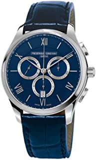Frederique Constant Men's 40mm Blue Leather Band Steel Case Sapphire Crystal Quartz Watch FC-292MNS5B6