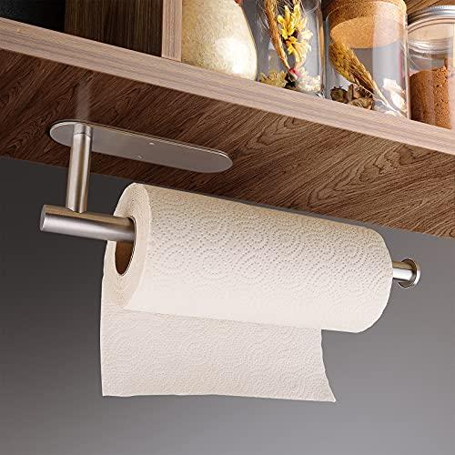 ZOYJITU Portarrollos de cocina sin taladrar, autoadhesivo, práctico soporte para rollo de papel debajo del armario, dispensador de rollos de cocina, de acero inoxidable, organizador (plateado)