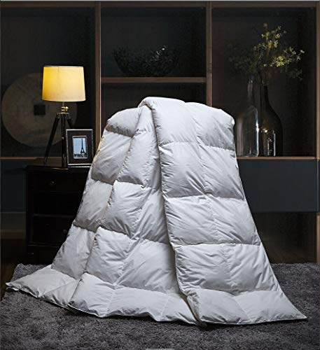 Duck Feather Down Quilt 13.5 Tog Deluxe Duvet | Best Hotel Quality | Super Soft | Warm and Cosy | Anti Allergy | Computer Quilted Construction, Self-fabric piping (Double)