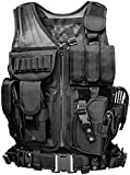 Tactical Vest Molle Vest for Man Women Youth, Breathable Tactical Vest with Numerous Pouches - Training Vest –Black, 600D Polyester