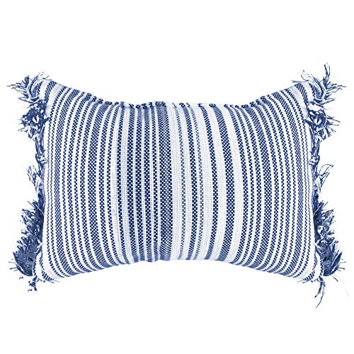 Baytown Striped Woven Poly Filled 12x20 Decorative Boho Lumbar Throw Pillow, Navy Blue and White
