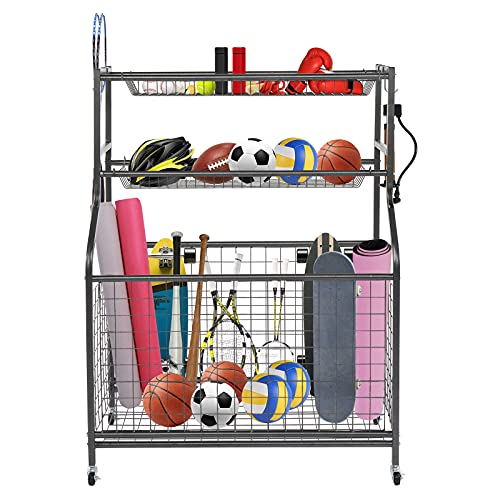 PEXMOR Sports Equipment Storage Rack with Baskets & Hooks, Movable Garage Balls Storage Sports Organizer with Wheel for Balls, Yoga Mats, Rackets, Toys, Workout Gear, Powder Coated Steel