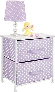 mDesign commode 2 tiroirs – petite table de chevet en tissu, métal et MDF – table de nuit avec motif à pois pour la chambr...