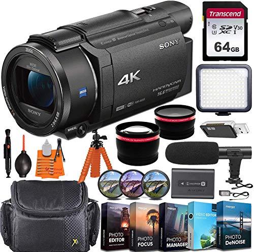 Sony FDR-AX53 4K Ultra HD Video Recording Handycam Camcorder + Vlogging Pro Bundle...