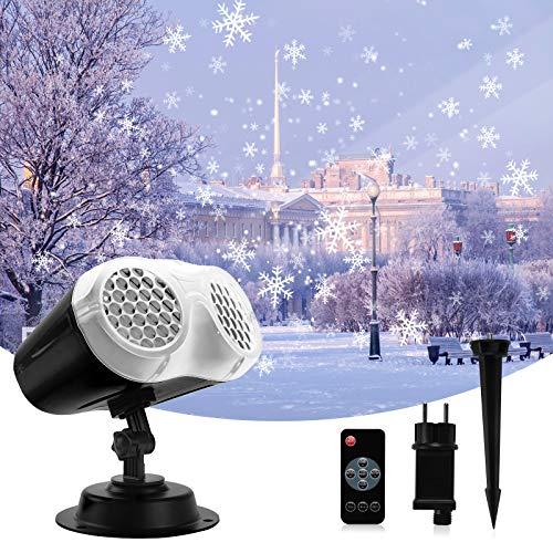 BACKTURE Luces de Proyector de Navidad, Proyector de Copos de Nieve Interior y Exterior, Rango proyección de 54m², IP65 Impermeable Proyector de Luz para Fiesta, Navidad, Halloween, Festivos