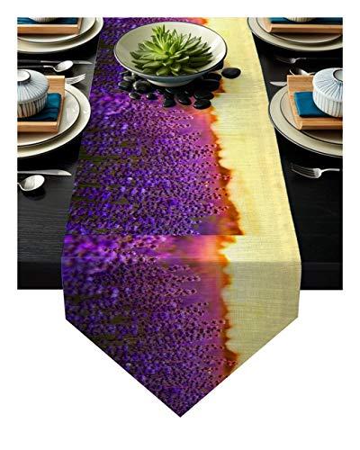 RJJX Lavande Fleur Pourpre Champ Fleurs Coucher de Soleil Chemin de Table Table Drapeau Accueil Parti décoratifs Nappe Chemins de Table Beau (Size : 36x183cm)