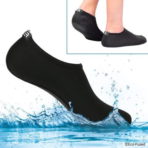 Eco-Fused Calcetines de Agua para Mujeres – Extra Cómodos – Protege contra la Arena, Agua fría/Caliente, UV, Rocas/guijarros – Calzado fácil para Nadar, Voleibol de Playa, Snorkel, Vela, Surf