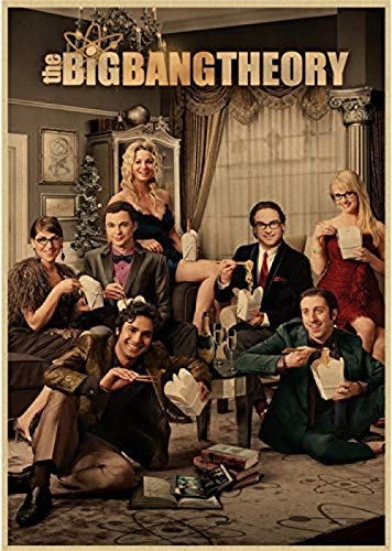 Leinwand Poster The Big Bang Theory Filmplakat Bar Cafe Home Decor Wandbilder für Wohnzimmer Dekoration 50x70cm No Frame Wasserdicht und langlebig