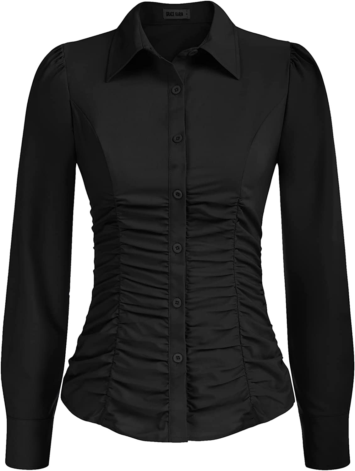 GRACE KARIN Women's Puff Long Sleeve Business Blouses Ruched Tops Button Down Shirt for Women Casual(S-2XL)
