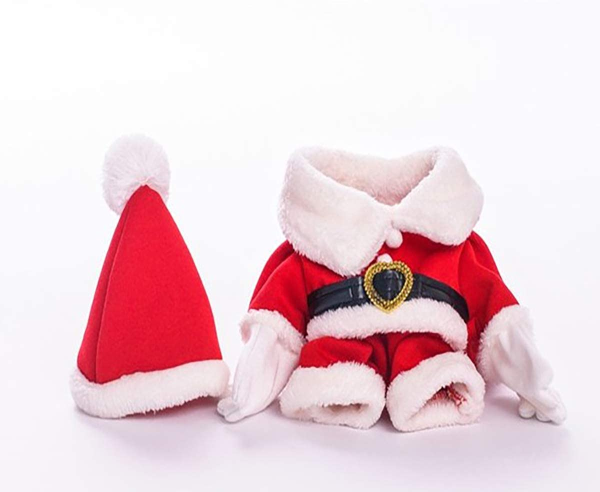 Xmas Clothes Winter Classic Warm Coats and Hat for Puppy Dog or Cat Small Cute Christmas Santa Claus Shape Pet Jumpers Velvet Fabric Suit