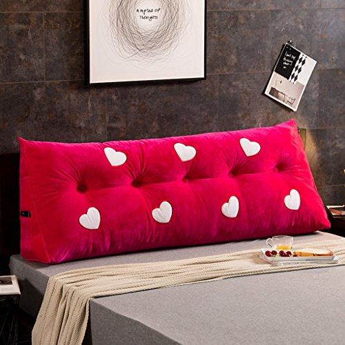 MMM- Coussin de canapé de lit de chevet de coton de coussin de lit de grand lit de double (Couleur : Rose rouge, taille : 180 * 22 * 50cm)