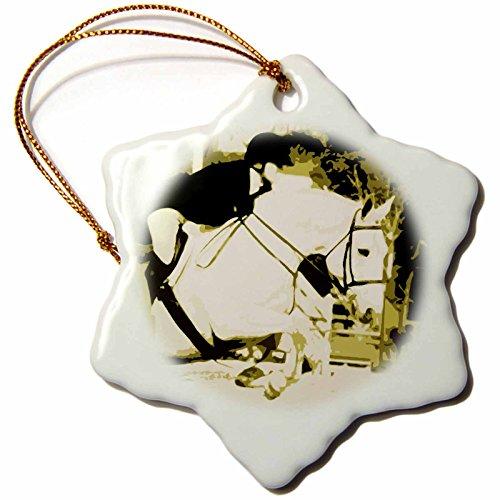3dRose - Figura Decorativa de Caballo árabe Saltando Sepia posterizada Copo de Nieve, Multicolor, 7,62 cm