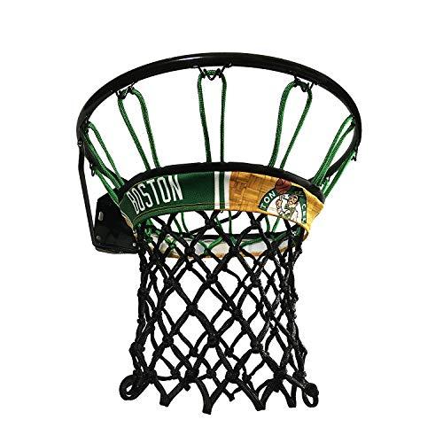 Boston Celtics NBALAB Licensed Basketball Net Featuring Netbandz Custom Designed Band (Green/Black Net)