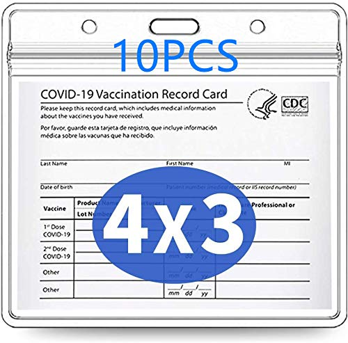 10 Pack CDC Vaccination Card Protector 4X3 in Immunization Record Vaccine Card Holders Horizontal Badge I'd Name Tag Clear PVC Sleeve Waterproof Pouch Resealable Zip Lanyard Slots for Events Travel