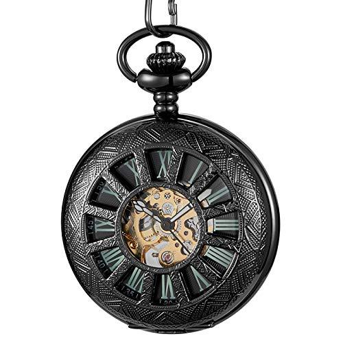 Reloj de Bolsillo mecánico Hueco Antiguo Reloj Negro de Cuerda Manual Colgantes de Cadena Reloj Esqueleto SteampunkDiseño luminoso1