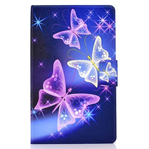 LundBtech Hülle für Samsung Galaxy Tab A7 10.4'' 2020 Hülle SM-T500/T505/T507 Leicht Flip Schutzhülle Folio Wallet Hülle mit Ständer & Kartenhalter für Galaxy Tab A7 10.4 Zoll - Lila Schmetterling