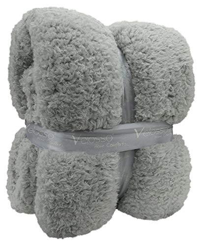 Silver Grey Cuddly Thick Luxury Super Soft Teddy Bear Throw Warm Sofa Bed Blanket Throw