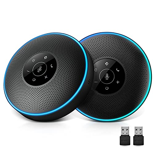 eMeet Bluetooth Konferenzlautsprecher - M220 USB Freisprecheinrichtung für 5-16 Personen, Speakerphone 360° Spracherkennung, Daisy Chain, mit Dongle, für Zoom, Skype, VoIP-Kommunikation PC usw.