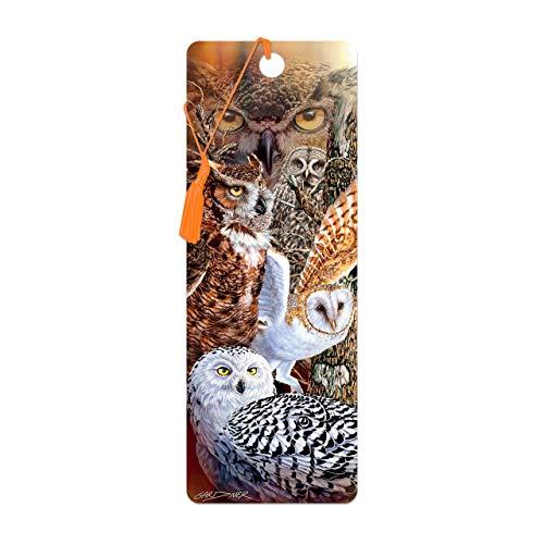 Bookmark 3D LiveLife - Owl Woods. Lentikulare Grafik 3D geholt Ihnen durch Deluxebase, genehmigt vom bekannten Künstler Steven Michael Gardner, einschließlich eine dekorative farbige Quaste.
