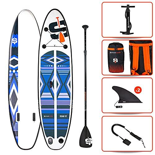 Stand up Paddle Gonflable Roam 10' 30'' 6'' (305 x 76 x 15 cm) Gamme Compact Avec Pagaie, Leash, Pompe et Sac de Transport