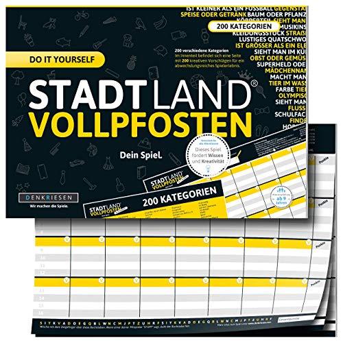 DENKRIESEN - Stadt Land VOLLPFOSTEN® - DO IT Yourself-Edition | Reisespiel | Familienspiel | Wichtelgeschenk Partyspiel | Stadt Land Fluss | Spielblock
