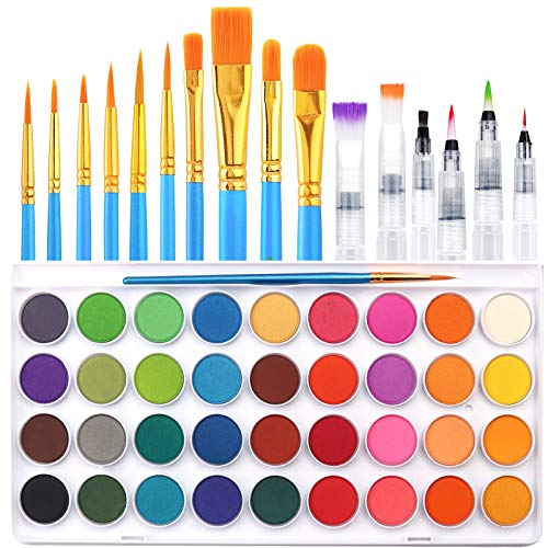 36 Colors Watercolor Paint Set, AROIC Watercolor Pan Set with 10 Nylon Brushes and 6 Refillable Water Brushes. Perfect for Adults, Children and Beginner Artists.