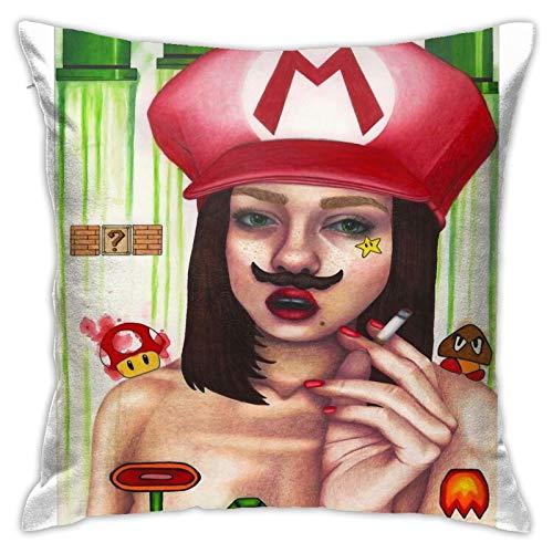 Opahxa5 Mamma Mia! Gamer Girl Throw Pillow Covers Both Sides Cotton Pillow Case Decor Home Sofa Square Cushion Cover 18x18 in
