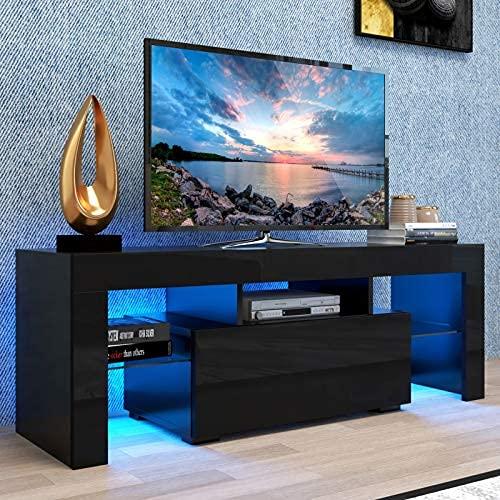 Moderno soporte de televisión Centro de entretenimiento con 20 luces de fondo led de color, 70 pulgadas soporte de medios de televisión con..