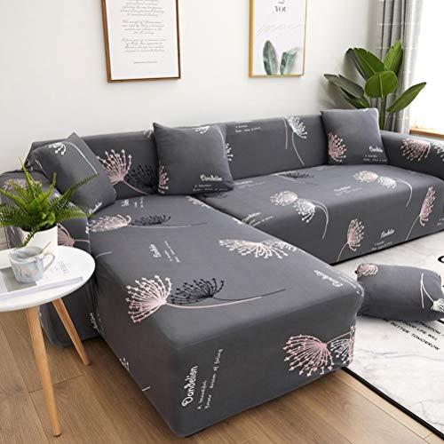 DaMuZ Funda de sofá Chaise Longue en Forma de L Elástica Poliéster y Spandex Fundas de Sofá Seccional Resistente A Las Manchas Lavable A Máquina Fundas de Sofá de Esquina Modernas