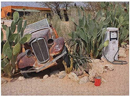Vintage Car 3D Puzzles 1000 Piezas, Imagen de Coches Antiguos Automóvil Histórico Nostálgico en Estilo Vintage, Azul Rojo Multi 04