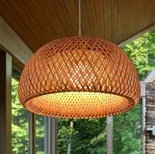 Rattan Handgewebt Hängeleuchte Landhausstil Pendelleuchte Runde Bambus Lampenschirm Wohnzimmer Schlafzimmer Deckenleuchte Retro Kronleuchter Esszimmer Küche Hängend Decke Lampe