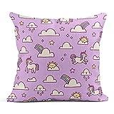 Kinhevao Dekokissen Pink Pattern Unicorns and Rainbows Purple Abstract Animal Fantastisches...