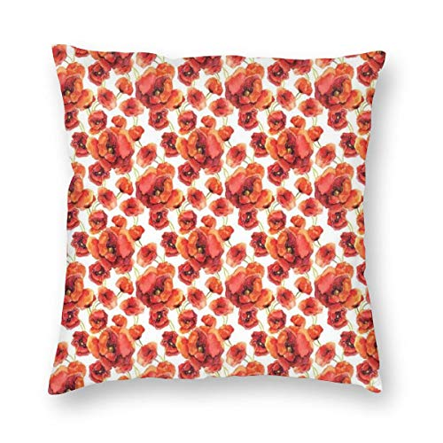 ZUL 3D Print Throw Pillow Covers,Red Poppy Flowers Watercolor Paintbrush Style Effect Nature Idyllic Print,Decorative Square Cushion Covers Case for Sofa Couch Home Decor