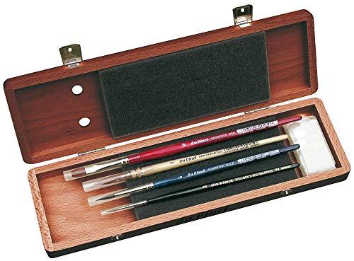 DA VINCI Serie 5280Agua Color Cepillo Set, Madera, marrón, Negro/Rojo, 30x 30x 30cm
