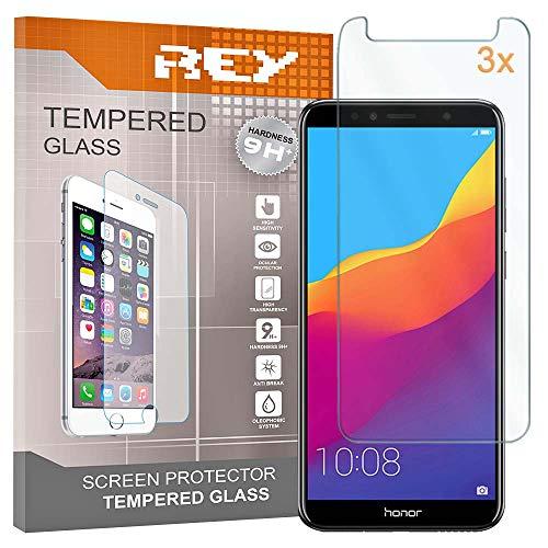 REY Pack 3X Panzerglas Schutzfolie für Huawei Honor 7A - Honor 7A PRO, Bildschirmschutzfolie 9H+ Festigkeit, Anti-Kratzen, Anti-Öl, Anti-Bläschen