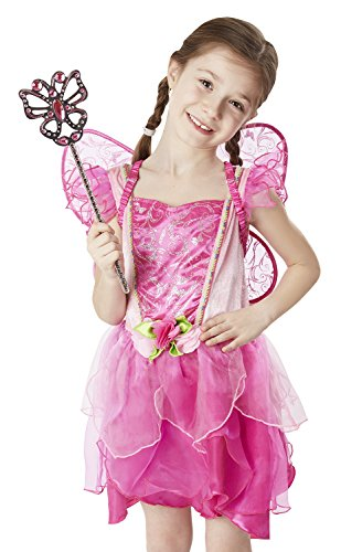 Melissa & Doug Flower Fairy Role Play Costume Set (3 pcs) - Pink Dress, Wings, Wand