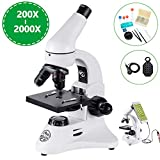 200X-2000X Compound Microscope with Phone Clip, All-Metal Optical Glass Lenses, Coarse and Fine