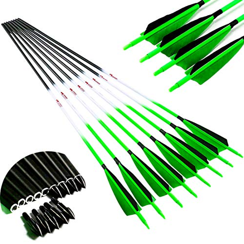 Linkboy Archery Carbon Arrows Hunting Practice Target Arrows Fluorescent with Removable Tip for Compound Recurve Long Bows, Spine 400/30inch, Pack of 12PCS