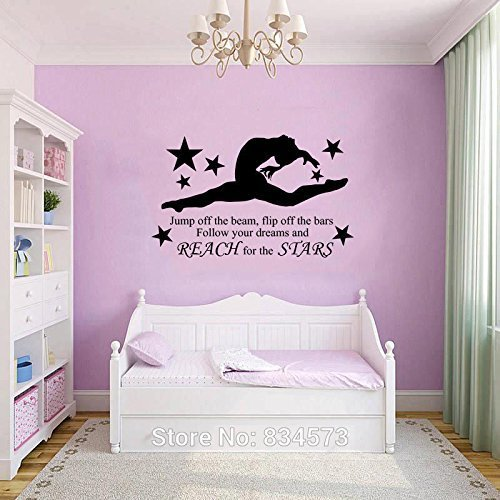 GYMNAST GYMNASTIC GIRLS Wall Art Sticker Decal Home DIY Decoration Decor Wall Mural Removable Bedroom Decal Stickers 57x97cm by HomeDecor69
