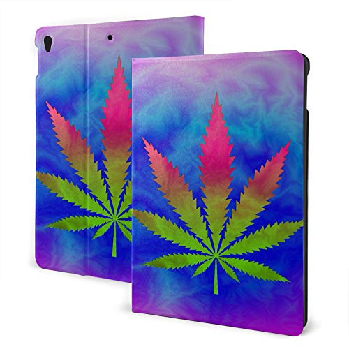 XiexHOME Ipad Covers For Women 2019 Ipad Air3/2017 Ipad Pro 10.5 Inch Case/2019 Ipad 7th 10.2 Inch Case Tie Dyed Pot Leaf Abstract Psychedelic Kid Proof Ipad Case Auto Wake/sleep