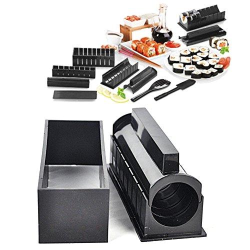 AmandaJ Sushi-Maker-Set, 5 einzigartige Formen, 10 Stück, schwarz, DIY-Sushi-Macher-Form, Reisrollenform, multifunktionale Form für Küchenwerkzeug