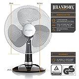 Brandson - Tischventilator 30cm   Tisch Ventilator mit 3-Leistungsstufen   Schreibtischventilator oszillierend   klein und leise   40W   Neigungswinkel ca. 30°   Oszillation ca. 85°   Silber