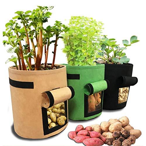 Odziezet Kartoffel Pflanzsack, 3er Pack Pflanzen Tasche, 4Gallon/7Gallon/10Gallon Gemüse Pflanzen Beutel mit Griffe/Fenster/Klettverschluss, 4 Gallons (3er Set, Mehrfarbig)
