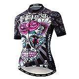 DIMPLEYA Las Mujeres Jersey MTB Camisetas, Montaña Bici Jersey Camisas De Manga Corta Transpirable 100% Poliéster Camino De La Bicicleta Ropa De Secado Rápido,Skull,XXXL