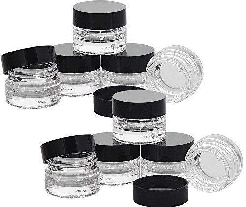 Klarglastiegel m. Kunststoff-Deckel, 5 ml Leerer Tiegel, Kosmetex Glasdose, 10× schwarz
