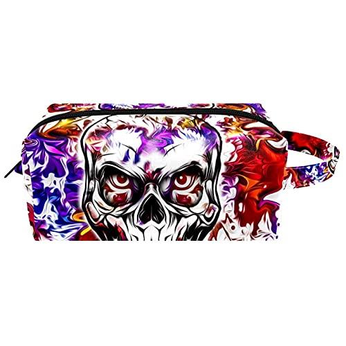 Artístico colorido cráneo impermeable bolsa cosmética para mujeres niñas, neceser de cuero bolsa de viaje con asa y cremallera, estuche de maquillaje cuadrado portátil