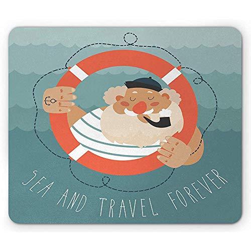 Vintage Nautical Tattoo muismat, oud zeeman gestreept T-Shirt pijp, anti-slip rubberen muismat, verbrand Sienna zand bruin