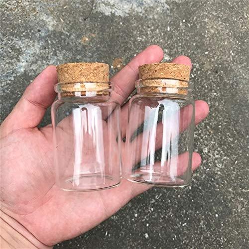 Botes de cocina Botellas de vidrio Vidrio vacío Mini Viales tarros con corcho pequeño recipiente transparente transparente Alimentos Botlles respetuoso del medio ambiente 12pcs / lot 80ml Conjunto de