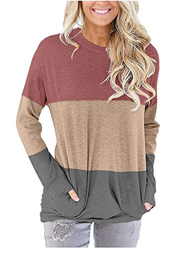 onlypuff Cute Cotton Top Womens Casual Loose Shirt Pocket Tee Shirt Color Block Stripe Tunic Red XXL