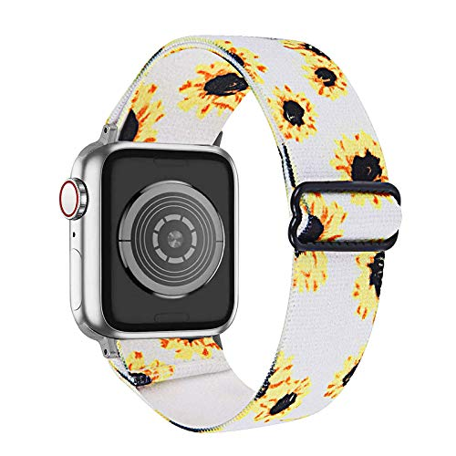 Fhony Correa de Nylon Compatible con Apple Watch Correa 38mm 40mm 42mm 44mm Transpirable Suave Pulsera de Nailon Trenzado de Tela Elástica para Iwatch Series 6/5/4/3/2/1,Sunflower,38/40mm